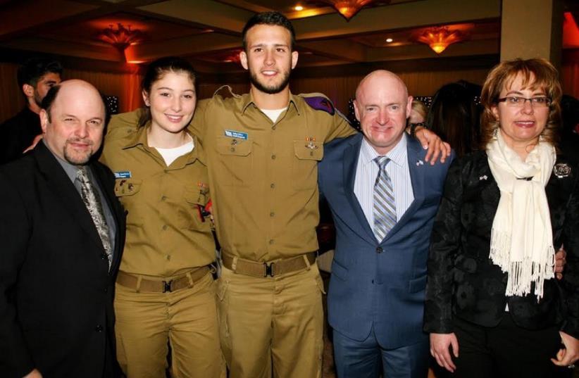 Actor Jason Alexander, Lone Soldiers Sgt. Emma and Staff-Sgt. Sahar, astronaut Mark Kelly and former Congresswoman Gabrielle Gifford (photo credit: NOAM CHEM)