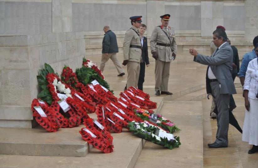 Remembrance Day at the Commonwealth War Graves Cemetery on Mount Scopus Jerusalem, November 7, 2015 (photo credit: SETH J. FRANTZMAN)