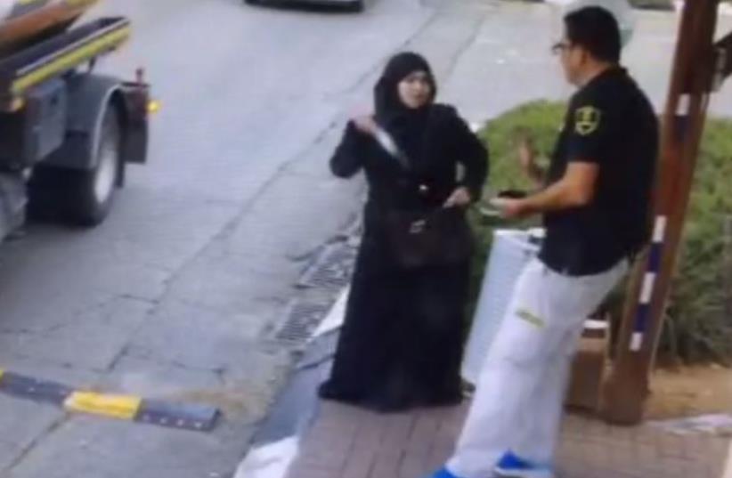 Scene of stabbing attack in Betar Illit (photo credit: screenshot)