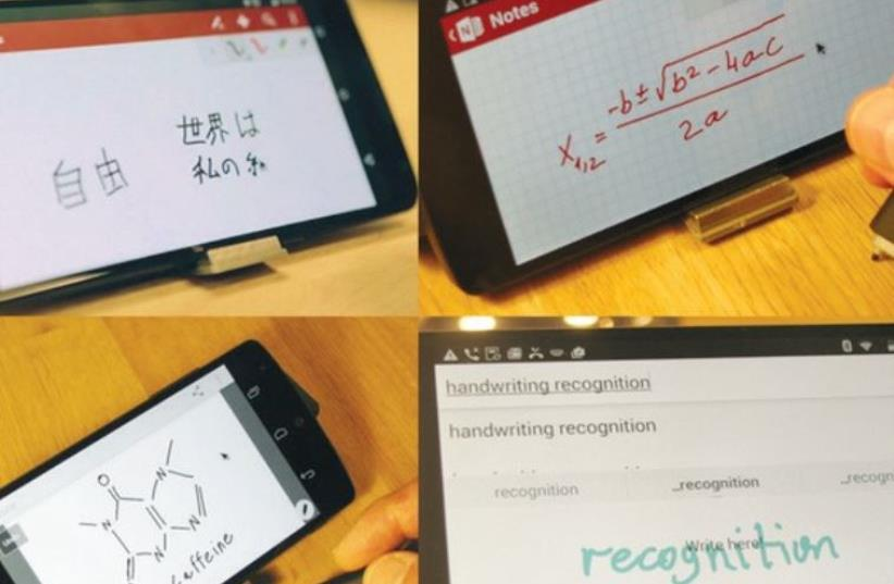PHREE CAN be used with mobile apps: OneNote, Skitch and Google handwriting keyboard. (photo credit: KICKSTARTER)