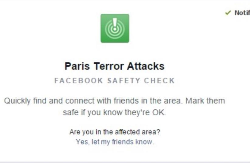Facebook saftey check for Paris (photo credit: screenshot)