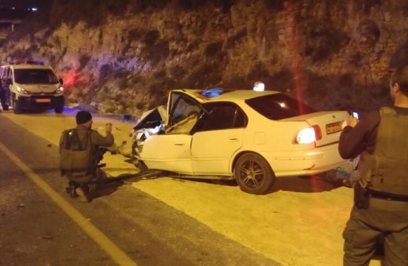 Scene of possible terror attack in Psagot (photo credit: COURTESY ISRAEL POLICE)