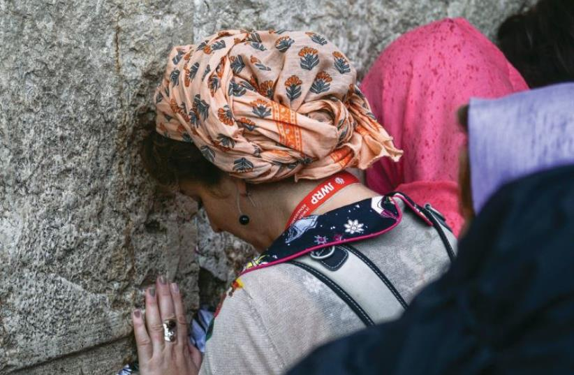 Women pray at the Western Wall (photo credit: JWRP)
