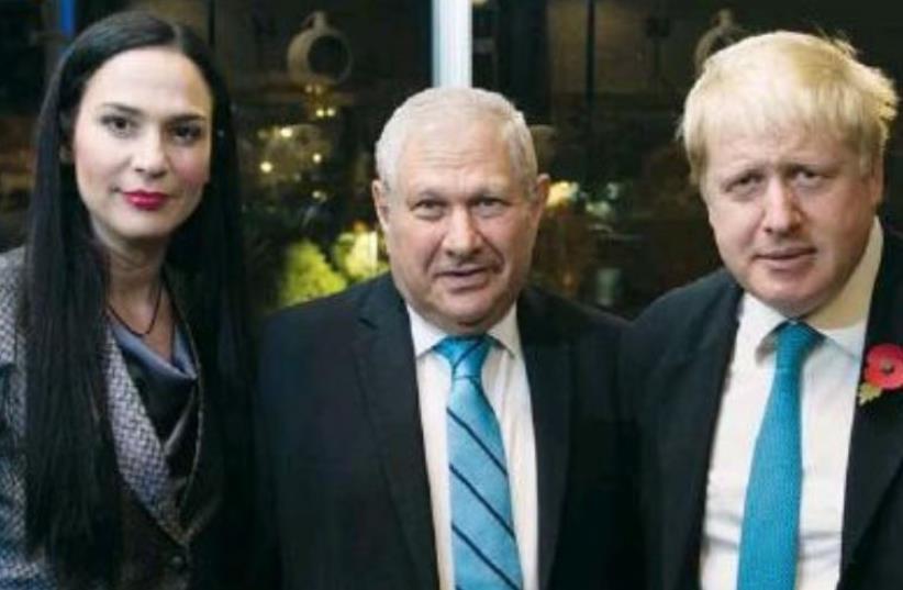 Yifat Oron, David Brodet and Boris Johnson (photo credit: BEN KALMAR)