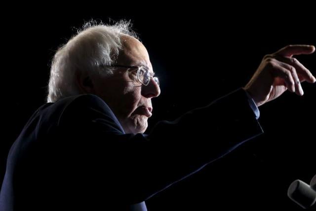 Sen. Bernie Sanders (I-Vt.) campaigns in Cleveland (photo credit: REUTERS)