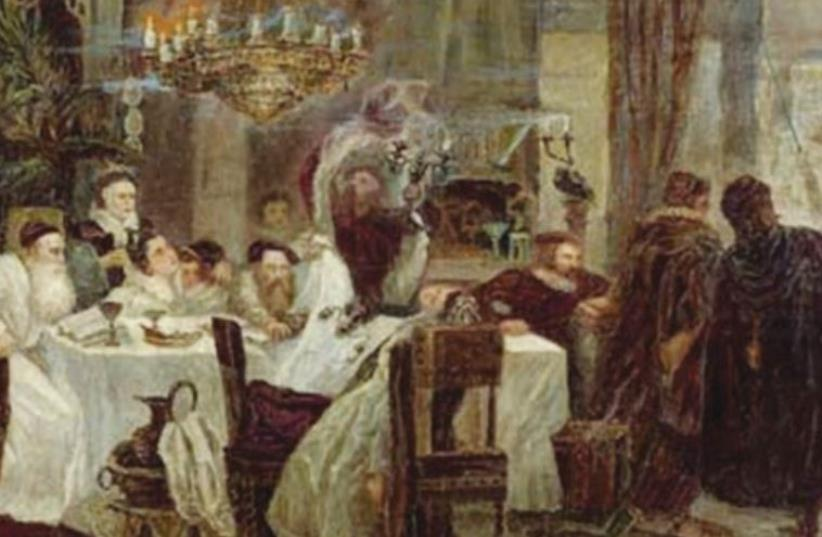 A painting by Moshe Maimon of a Passover Seder held by Marranos, or secret Jews, in Spain during the time of the Inquisition (photo credit: Wikimedia Commons)
