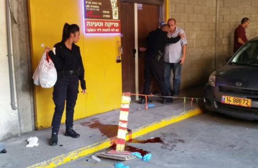 Scene of stabbing in South Tel Aviv (photo credit: BEN HARTMAN)