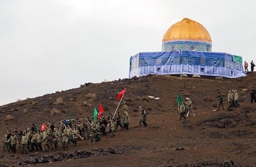 Thousand of Basij soldiers stage mock seige of Temple Mount (photo credit: FARS)