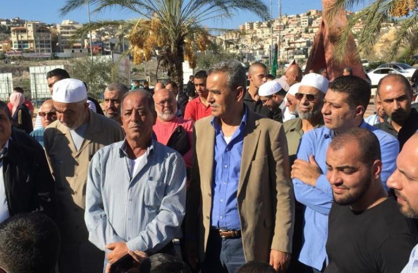 Islamic Movement leader Raed Salah demosntrates in Umm el-Fahm, November 20, 2015 (photo credit: Courtesy)