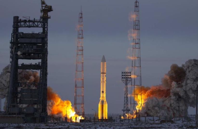 Amos 5 satellite launch. (photo credit: SPACECOM)