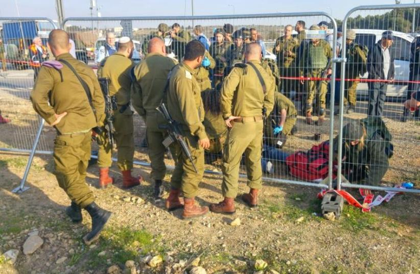 Scene of stabbing attack in Gush Etzion (photo credit: ETZION FIRE FIGHTERS)
