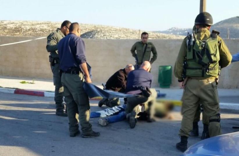 Scene of stabbing attack on Route 443 (photo credit: MEDABRIM TIKSHORET)