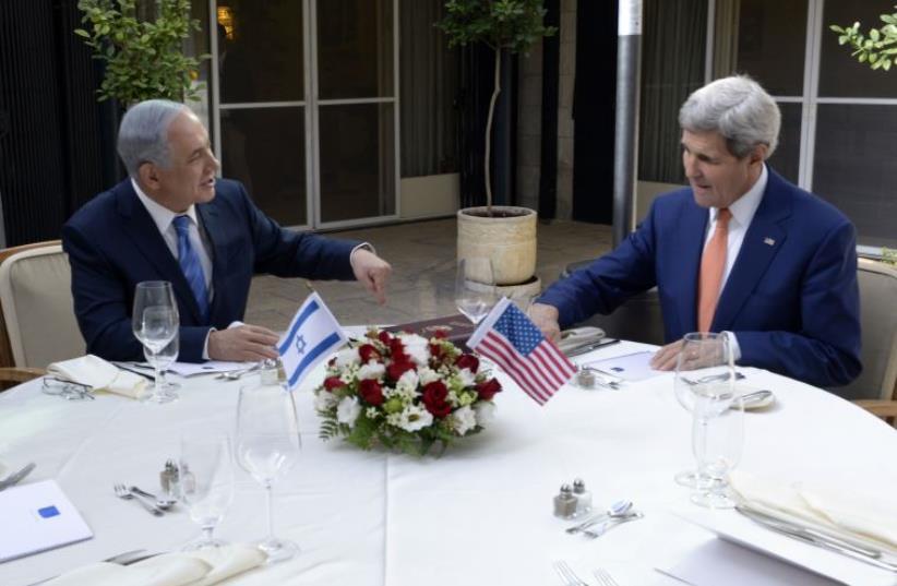 Secretary of State John Kerry with PM Benjamin Netanyahu the PM's Residence, Jerusalem nov. 24, 2015 (photo credit: MATTY STERN, US EMBASSY TEL AVIV)
