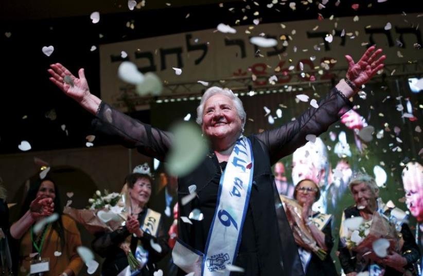 Rita Berkowitz, a Holocaust survivor and winner of a beauty contest for survivors of the Nazi genocide (photo credit: AMIR COHEN - REUTERS)