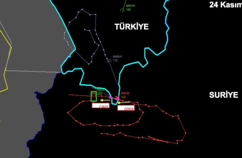 A radar picture shows activities of the downed Russian warplane on the Turkish-Syrian border, November 24, 2015 in this handout photo provided by Turkish Interior Ministry (photo credit: REUTERS)