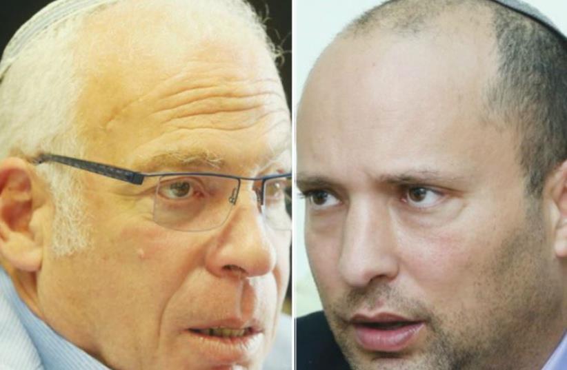 Bayit Yehudi's Uri Ariel (L) and Naftali Bennett (photo credit: MARC ISRAEL SELLEM)