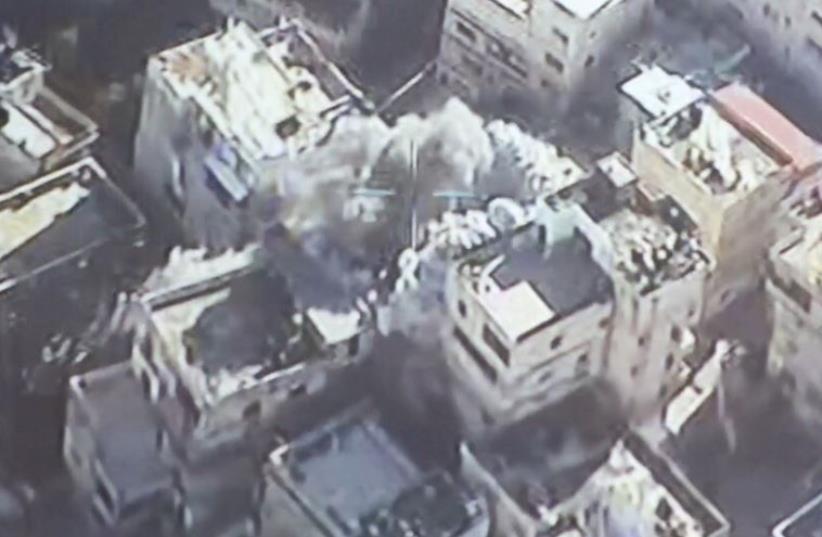 Aerial police photo of home demolition in east Jerusalem, December 2, 2015 (photo credit: POLICE SPOKESPERSON'S UNIT)