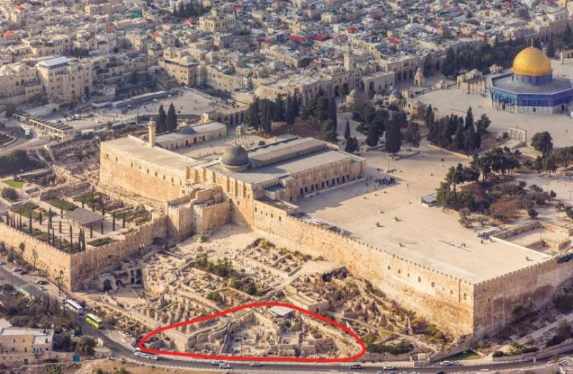 An aerial view of the excavation site overseen by the Hebrew University of Jerusalem's Institute of Archaeology (photo credit: COURTESY OF ANDREW SHIVA)