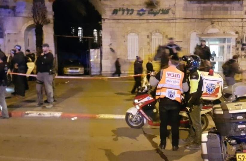 Paramedics at the scene of a terror stabbing near Damascus Gate in Jerusalem (photo credit: UNITED HATZALAH)