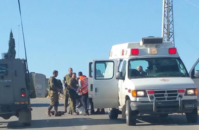 Scene of stabbing attack near Halamish in Binyamin region (photo credit: DORON MAH TOV/ MIDABRIM BATIKSHORET)
