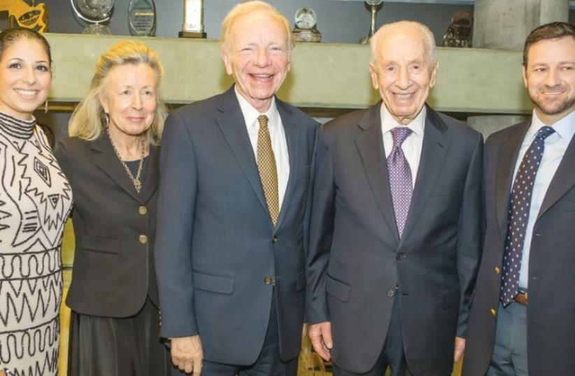 FROM LEFT, Shira Ruderman, Hadassah and Joe Lieberman, Shimon Peres and Jay Ruderman (photo credit: HERSHEL GUTMAN)