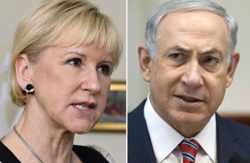Wallstrom and Netanyahu (photo credit: REUTERS,ABIR SULTAN / POOL / AFP)