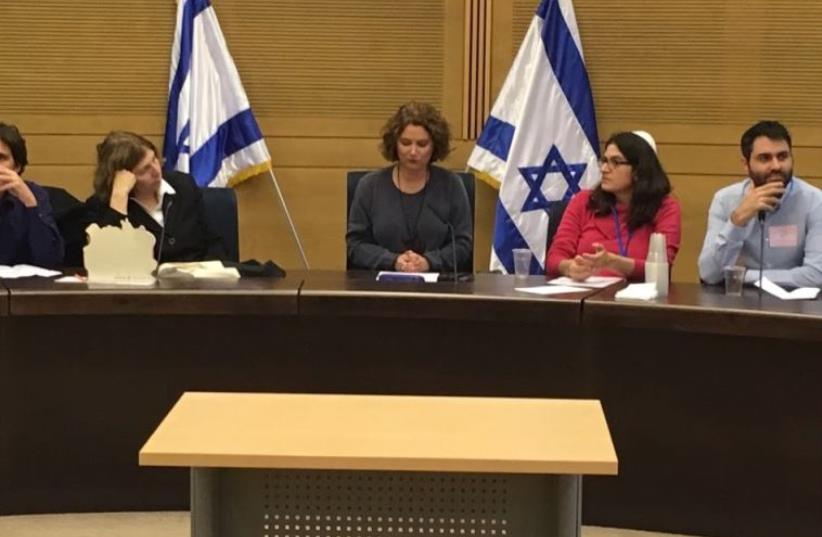 MK Michal Rozin leads a Hannuka themed discussion in Knesset on pluralism and human rights  (photo credit: Courtesy)