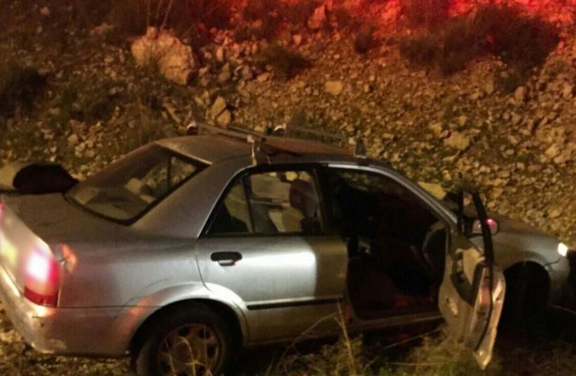 Scene of shooting attack in West Bank, December 9, 2015 (photo credit: MDA)