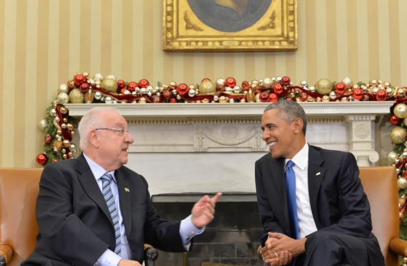 President Reuven Rivlin meets with US President Barack Obama in the Oval Office (photo credit: KOBI GIDON / GPO)