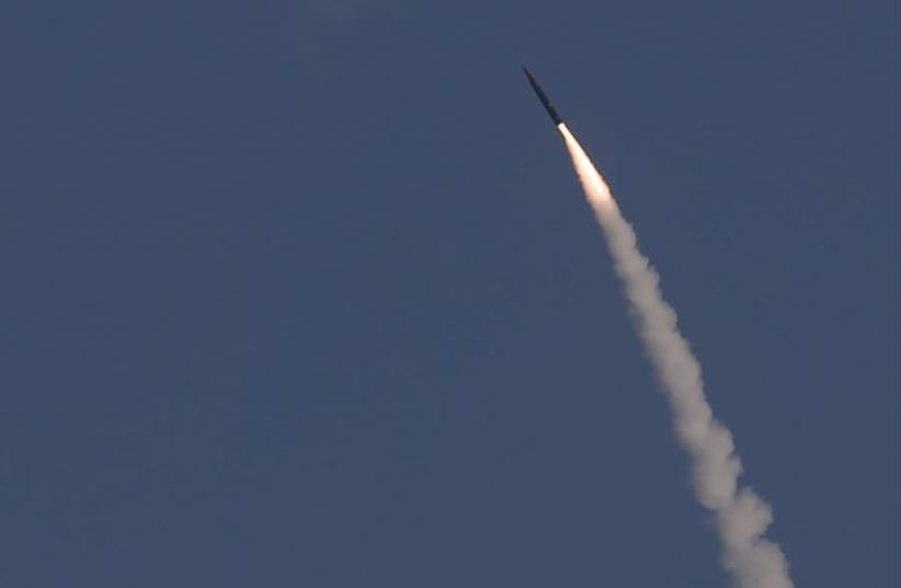 "An ""Arrow 3"" ballistic missile interceptor is seen during its test launch near Ashdod (photo credit: REUTERS)"