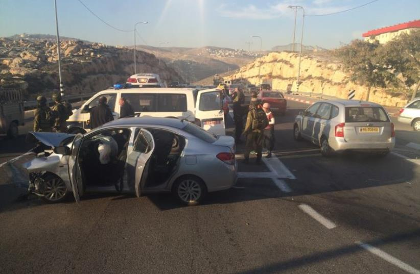 Scene of suspected vehicular terror attack Beit Arieh in the West Bank (photo credit: ITZIK HAMAL DIVUHIM)