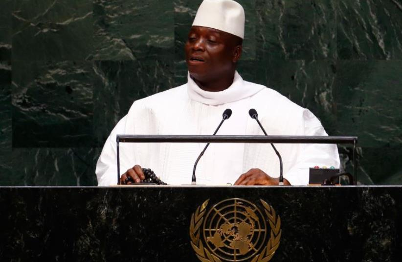 Al Hadji Yahya Jammeh, President of the Republic of the Gambia, addresses the 69th United Nations General Assembly at the UN headquarters in New York September 25, 2014. (photo credit: REUTERS)