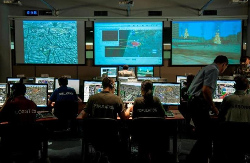 IDF Home Front Command training on new Elbit Systems program (photo credit: ELBIT SYSTEMS)