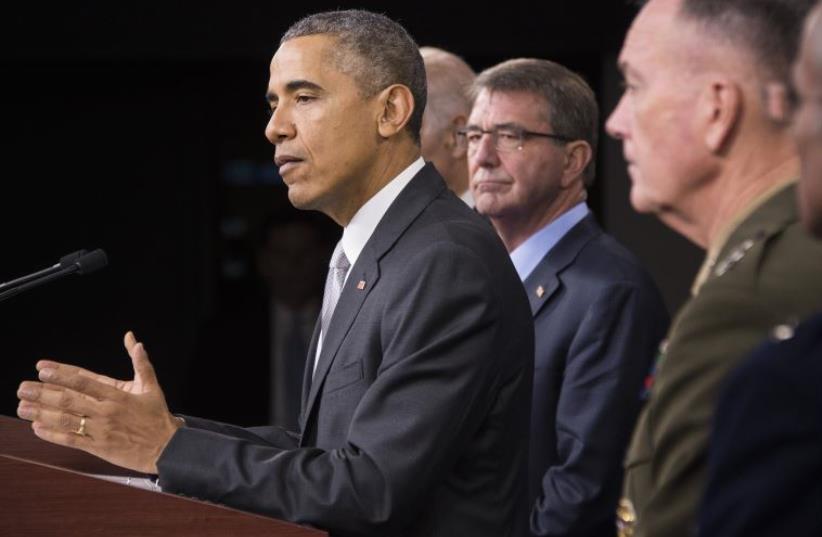 US President Barack Obama speaking at the Pentagon (photo credit: JIM WATSON / AFP)