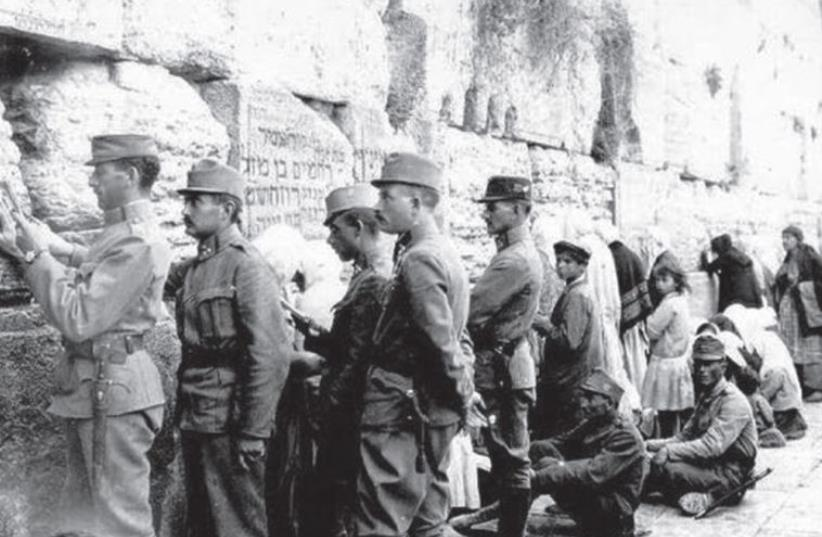 Austrian soldiers at the Western Wall. (photo credit: Wikimedia Commons)