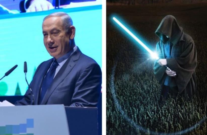 Prime Minister Benjamin Netanyahu (L) and an image from 'Star Wars' (photo credit: REUTERS)