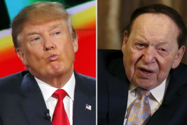 Donald Trump (L) and Sheldon Adelson (photo credit: REUTERS)