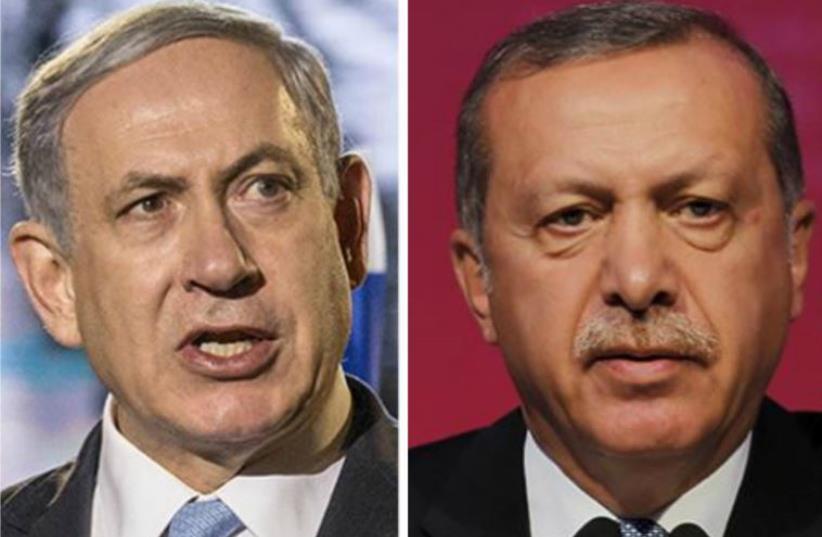 Israeli Prime Minister Benjamin Netanyahu and Turkish President Recep Tayyip Erdoğan  (photo credit: GERARD FOUET / AFP)