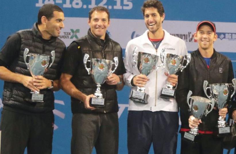 From left to right: Andy Ram, Yoni Erlich, Amir Weintraub and Dudi Sela (photo credit: NIR KEIDAR/ISRAEL TENNIS ASSOCIATION)