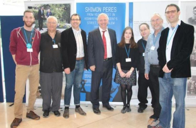 From left: Limmud Conference 2015 Co-Chair Michael Gladstone, Limmud FSU Founder Chaim Chesler, outgoing Limmud Chair Kevin Sefton, MP John Mann, Conference Programming Co-Chair Deborah Blausten, Curator Yoram Dori, and Int'l Steering Committee Chair David Bilchitz (photo credit: COURTESY OF BATIA DORI)