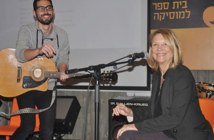 AMERICAN SONGSMITH Bonnie Hayes seen here with an Israeli music student at the Rimon School of Music in Ramat Hasharon. (photo credit: Courtesy)