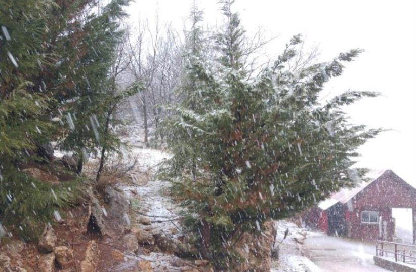 Snowfall on Mt. Hermon, December 31, 2015 (photo credit: MT. HERMON MEDIA)