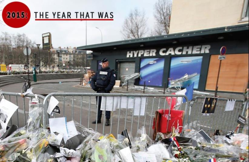 A memorial for the slain victims of the Hyper Cacher kosher supermarket attack in Paris last January. Due to the sensitive nature of his personal story, Oualid declined to be photographed for this piece (photo credit: REUTERS,JPOST STAFF)