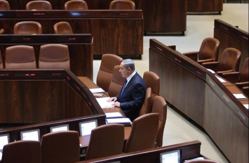 PM Benjamin Netanyahu at the Knesset (photo credit: MARC ISRAEL SELLEM/THE JERUSALEM POST)