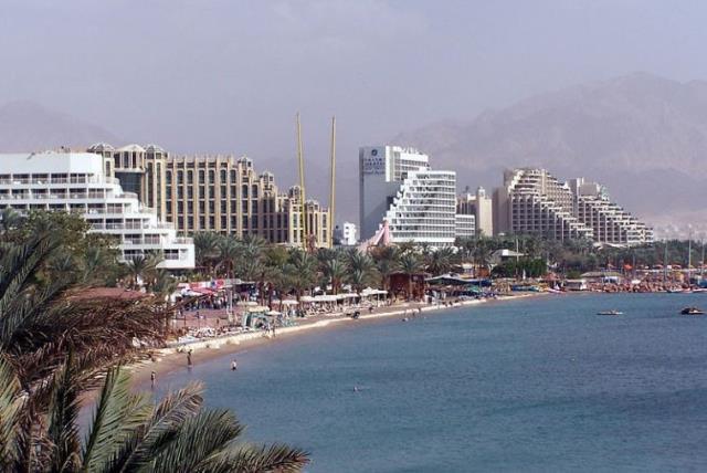 General view of Eilat resorts (photo credit: WIKIMEDIA COMMONS/HENRIK SENDELBACH)