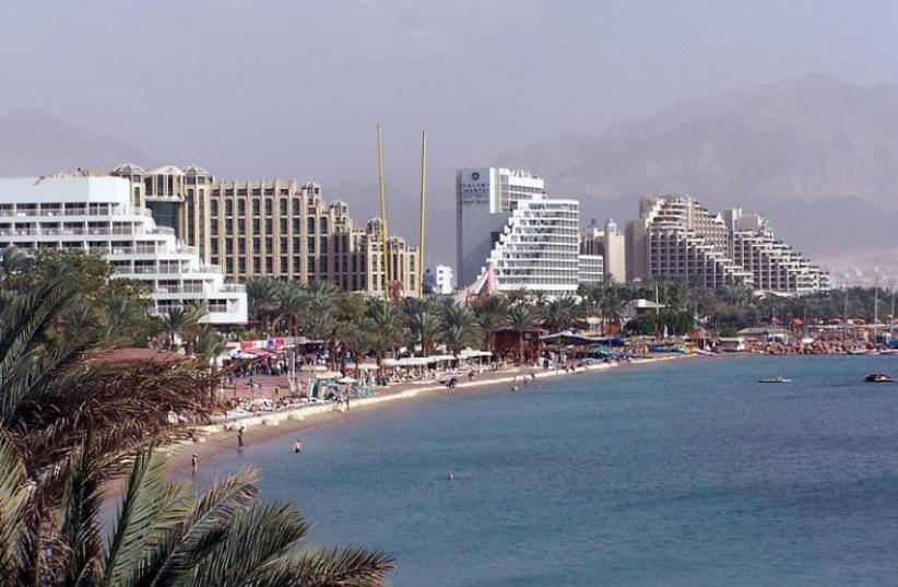 General view of Eilat resorts (photo credit: WIKIMEDIA COMMONS/HENRIK SENDELBACH)