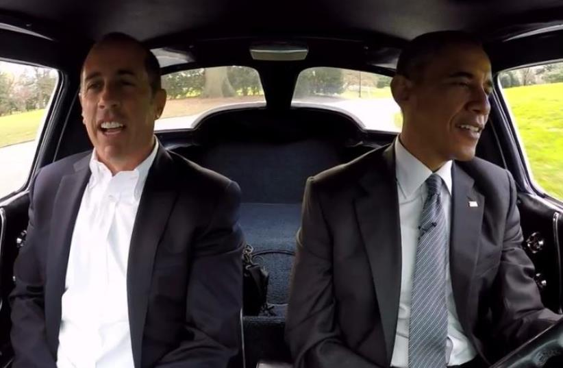 US President Barack Obama (R) and comedian Jerry Seinfeld (photo credit: COURTESY COMEDIANS IN CARS GETTING COFFEE)