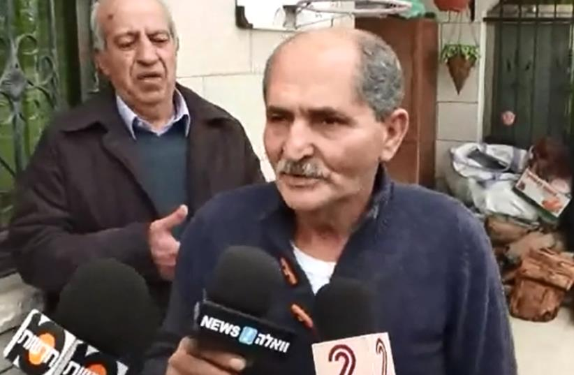 Screenshot of suspect's father at press conference in front of his hosue in northern Israel. (photo credit: screenshot)