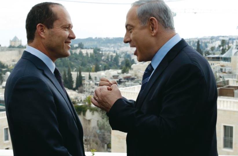 Netanyahu and Barkat (photo credit: REUTERS)
