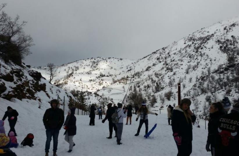 Snow on Mount Hermon, January 9, 2015  (photo credit: MT. HERMON MEDIA)